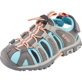 Hi-Tec Cove Sandals Kids Cool Grey/Curacao Blue/Papaya Punch
